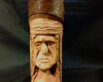 Wood Carving Hand Carved Native American Indian 4