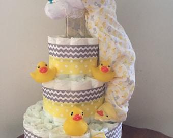 Diaper cake, Duck diaper cake, Duck baby shower, Baby shower, Baby shower diaper cake, Baby shower gift, Baby shower decorations, Baby gift