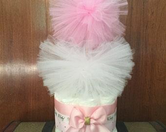 Mini Diaper cake,Pink and gold mini diaper cake,Diaper cake,Diaper cake centerpiece,Mini diaper cake centerpiece,Baby shower centerpiece