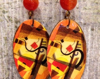 Oval Shape Up-Cycled Kandinsky Earrings, decoupaged postcard earrings