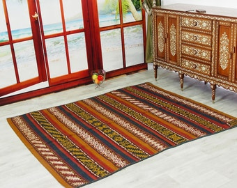 215x85 cm Antique Uzbek nomads Kilim Jajim rug Central Asia kelim No-806