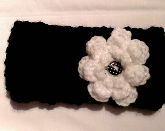 Baby black and white headband / ear warmer with flower and button detail fits  9-12 mths