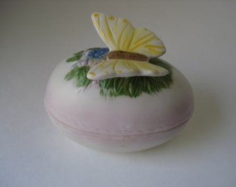 SALE - Bisque Egg Butterfly Trinket Box