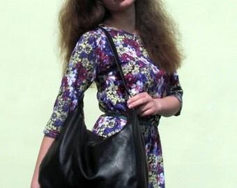 Leather tote bag Black Leather bag Shoulder bag  Womens bag Daily bag Genuine leather Handmade Handbag Gift for her Gift for women