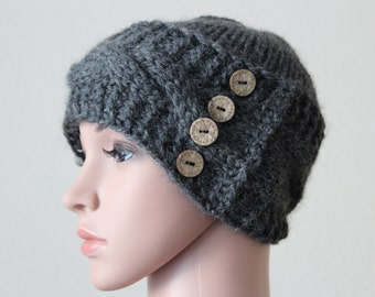 "Stylish""Xavier""Hat/Super Soft Baby Alpaca Yarn/Cable Pattern/Hand knitted/4 Wooden Buttons for extra flair/Adult-Teen/"
