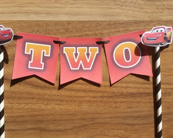 Lightning McQueen  Car Number Birthday Cake Bunting Personalized Custom Made  Cake Bunting