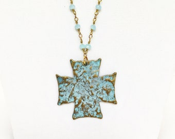 Rosary style necklace with patina cross pendant