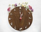 Yoga wood wall clock sport women gift for wife girlfriend Gift for vegan Yoga sport home decor