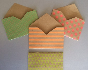 Neon Kraft Paper Gift Card Envelopes