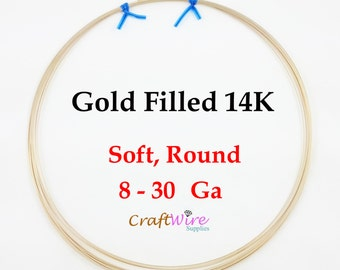 14/20 Gold Filled Wire, Round, Dead Soft, 8 10 12 14 16 18 20 21 22 24 26 28 30 Gauge, 14K, 6 in, 1 5 15 25 Feet, Wrapping Craft Jewelry