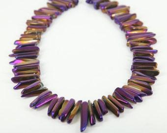 15.5 inches Strand,Polished Mystic Titanium Purple Natural Quartz Crystal Stones Point Pendants Necklace