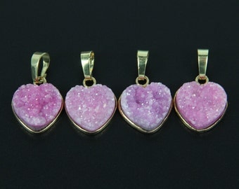 Valentine Day Lover Gift,Fushcia Heart Druzy Geode Agate Charm Necklace,24K Gold Plated Edged Sliced Pendant Finding