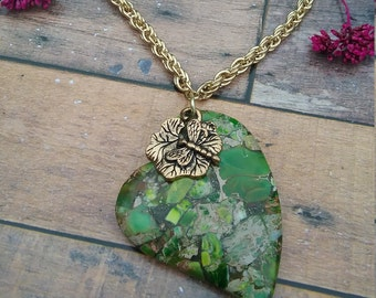 Green Jasper Heart Gemstone Short Necklace