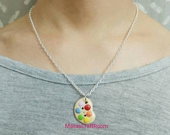 "Kawaii Clay Artist Palette 18"" Necklace"