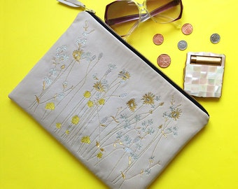 Metallic Wildflower Clutch Bag: Embroidered Oatmeal Lambs Leather and Metallic Thread Clutch Bag