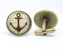 Vintage inspired Anchor Sailor Nautical Men's bronze / silver plated cufflinks