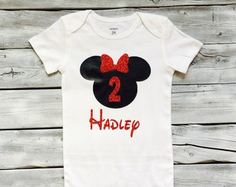 red and black minnie mouse second birthday shirt, red black minnie 2nd birthday shirt, red black minnie mouse birthday outfit, 2nd birthday