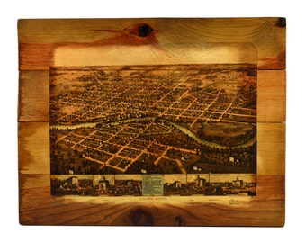 South Bend Wood Map Art - 1866 South Bend Map Wall Art