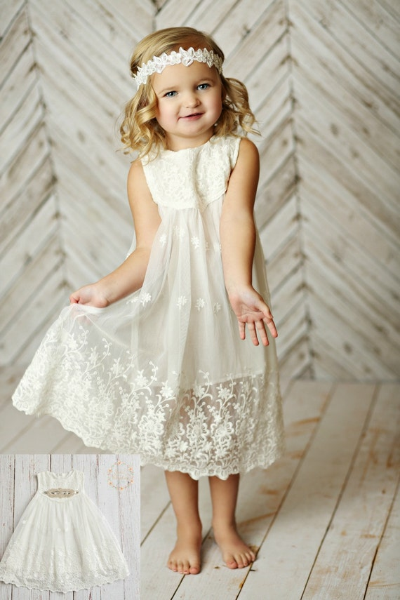white flower girl dress girls lace dress rustic by