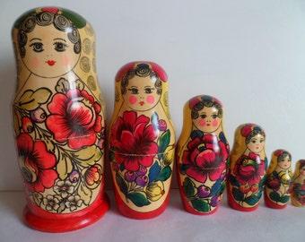 Russian Wooden Nesting Dolls Matryoshka Babushka Handcrafts Russia Gifts Sale Home Decor Set of 6 dolls.