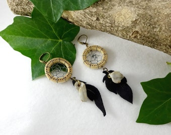 Wooden earrings, leather, dreamcatchers, black leather, white sandstone pearls