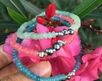 Jade bracelets with tiny Tahitian Black Pearl Keshis