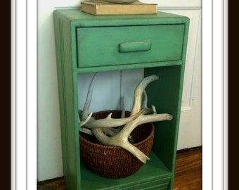 Vintage Green Side or Accent Table with Drawer