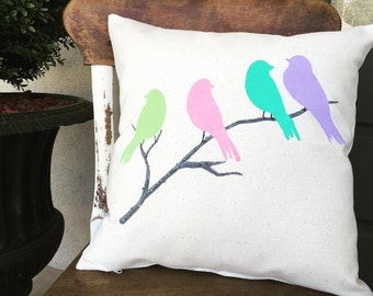 Birds/Birds of Spring/Bird Decor/Pillow/Spring Pillow/Birds on a branch/Throw Pillow/Decorative Pillows