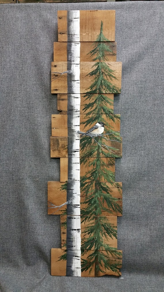 Wood pallet art white birch pine tree reclaimed tall hand