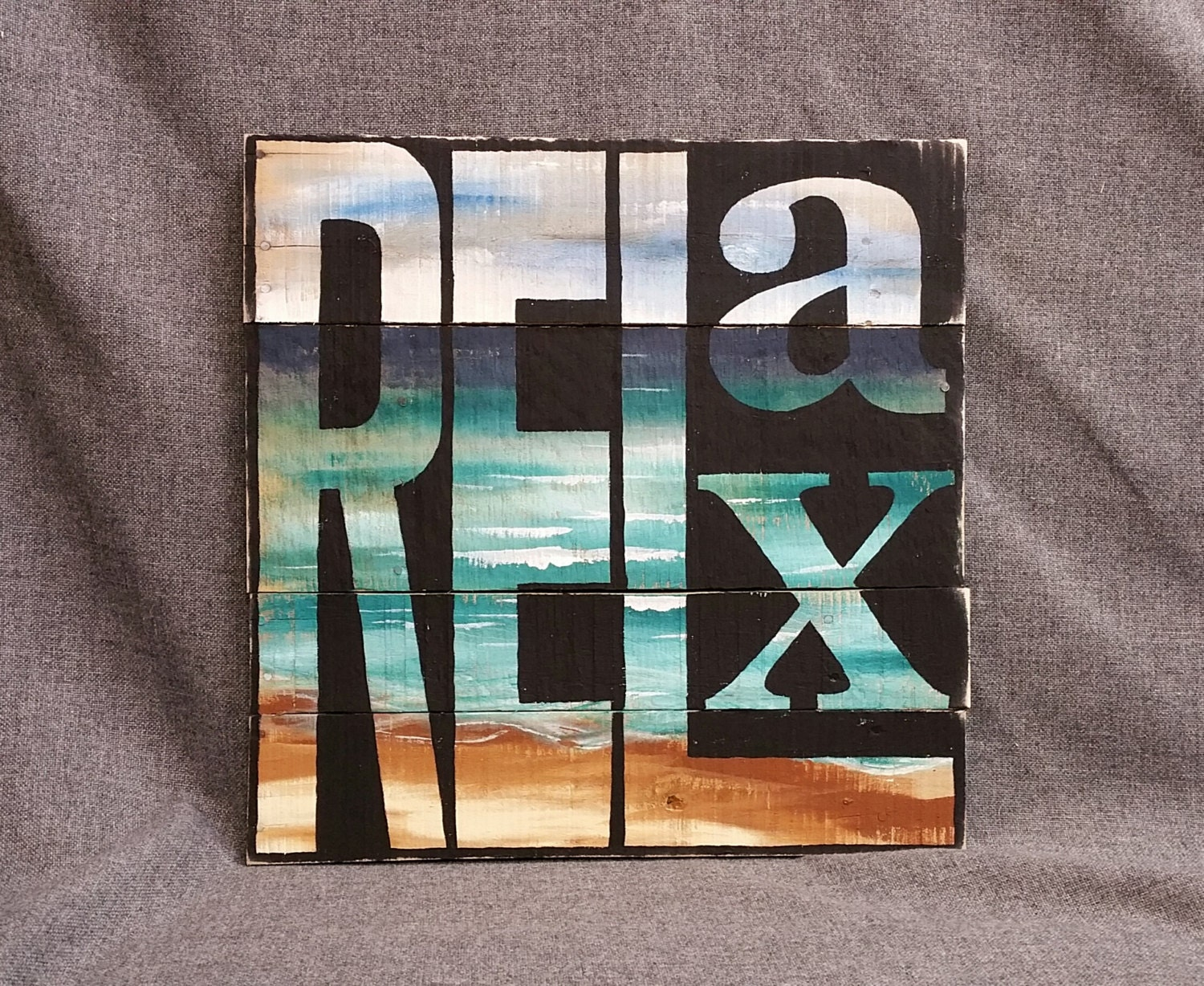 Beach Relax Pallet Wall Art Decor Hand Painted Word Sign