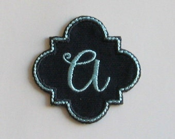 Initial Patch with Cursive Letter Iron On Applique