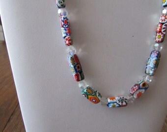 Vintage Venetian Millefiori Necklace with Crystals Millefiori Bead Necklace