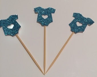 Sparkling onesie cupcake toppers