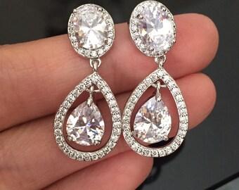 Crystal Bridal Earrings, Wedding Earrings, Wedding Jewelry, Bridal Teardrop Earrings, Bridal Jewelry, Vintage Wedding Jewelry, Drop Earrings