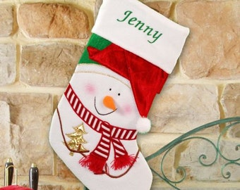 PERSONALIZED Frosty with Red Hat & Scarf SNOWMAN Embroidered Christmas Stocking ***FREE Shipping