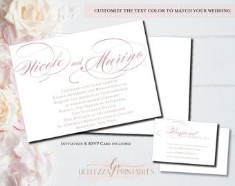 Dusty Rose Wedding Invitation- Minimal Wedding Invites- Traditional Rose Wedding Invitations-DIY Digital File or Professionally Printed
