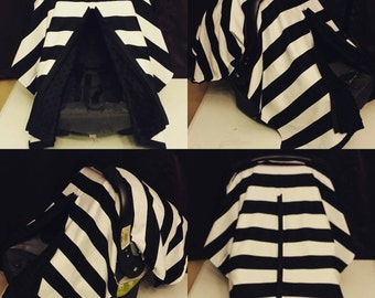 Black and white stripe carseat canopy