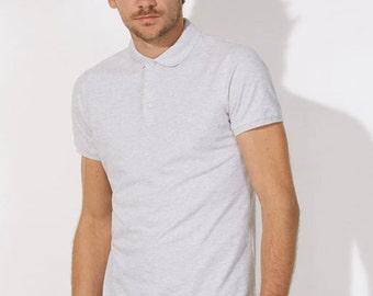POLO 100% Organic cotton  short sleeve Heather white