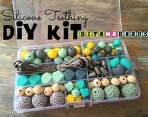 Silicone Teething DIY Kit - Food Grade Loose Silicone Teething Beads Baby Chew Jewelry Nursing Necklace - Mint/Yellow/Grey/Turquoise