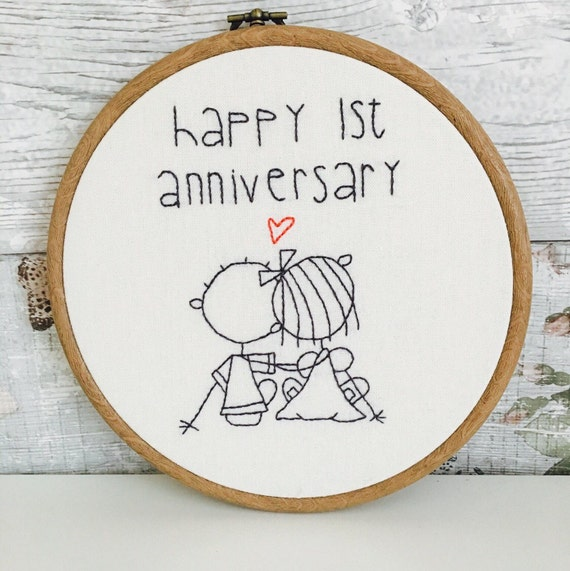 Embroidered st anniversary gift by