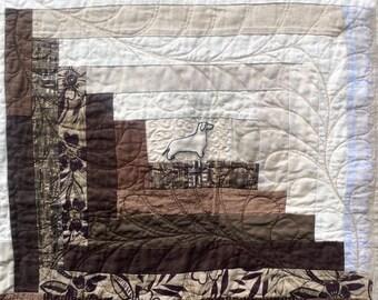 Linen Dachshund Quilt, Linen patchwork Quilt, Linen Quilt, Log cabin Quilt