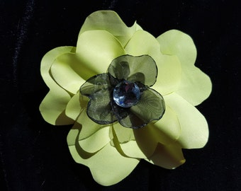 Lime Green and Black Flower Hair Clip