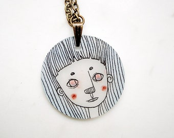 Blue haired girl necklace