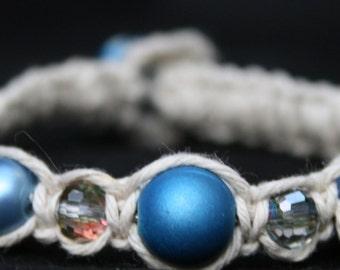 White with Blue Friendship Bracelet