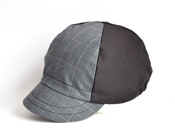 Grey and black cycling cap, Cotton glen check cap, Mens cycle hat, Cycling gift for adults