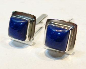 Marvelous Lapis Lazuli Sterling Silver 925 Handmade Cufflinks Mens Jewellery Blue by AmoreJewels