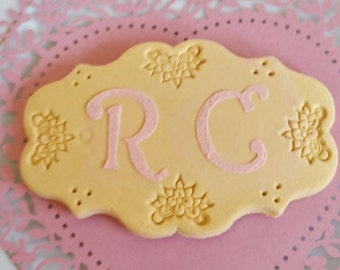 Personalised Fake biscuit with initials., fake biscuits, personalised