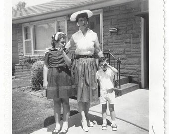 Stylish Woman and Children, 1961, Vintage Photograph