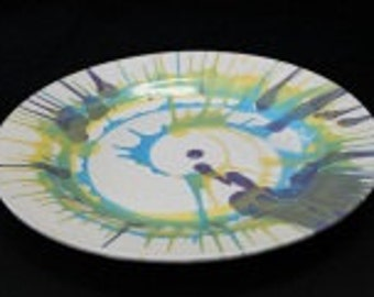 Swirl Plate, Green Blue and Yellow Charger