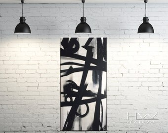Duel 24x48x1.5 original abstract painting on high quality, 1.5 in thick, gallery wrapped canvas